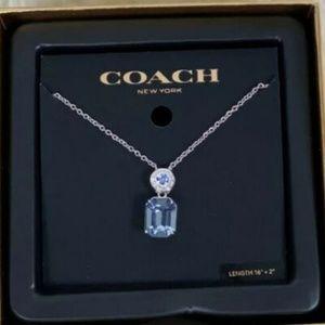 COACH Emerald Cut Crystal Silver Tone Necklace